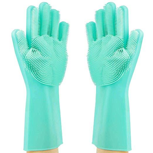 teal gloves